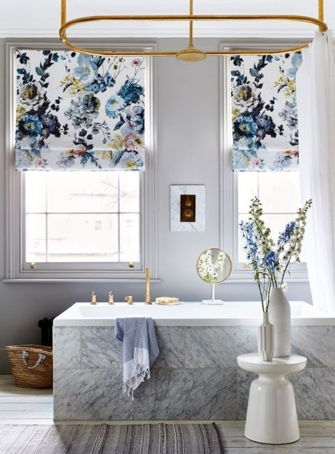 Windows become striking focal points with the addition of blinds in a traditional floral-print fabric updated in a modern colourway.  Where to buy: Blinds made up in Seraphina Delft F2015/0, £85 a metre, Designers Guild. Martini side table, £129, West Elm. Soft stripe runner, £40, Cox & Cox. Bondi Hammam towel, £36, Bohemia. Fluted vase, £14.50, Design Vintage. Anzia white ceramic bottle vase, £30, Habitat. Basket, find similar at Bohemia.