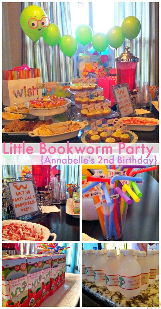 Little Bookworm Birthday Party -Toddler 2nd Birthday Party Idea