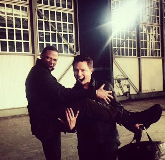 Emily Posted this one on Instagram #Diggle #Merlin #arrow #BehindTheScenes