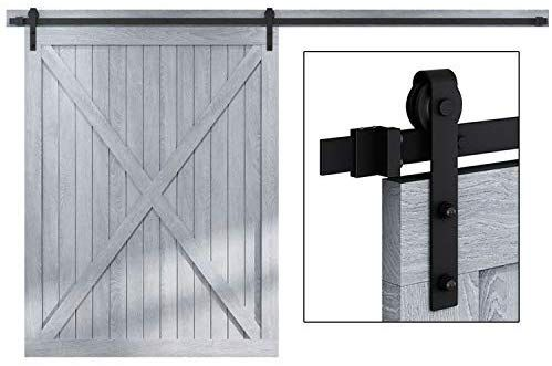 Amazon Com Faithland 12ft Double Sliding Barn Door Hardware Track Kit For Wood Door Cl In 2020 Room Divider Doors Double Sliding Barn Doors Sliding Door Room Dividers
