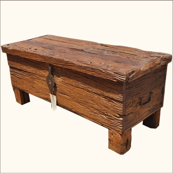 Rustic Railway Road Ties Reclaimed Wood Coffee Table Storage Box Trunk Chest Wooden Trunks