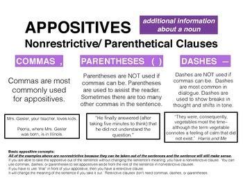 Poster Appositives (especially Nonrestrictive