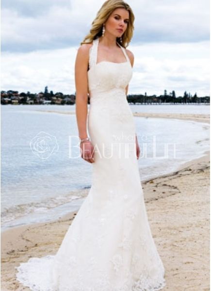 Satin Halter Sweep Train Empire Wedding Dress With Appliques