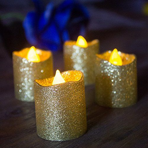 Loguide Gold Glitter Led Votive Candles Flameless Tealight Battery