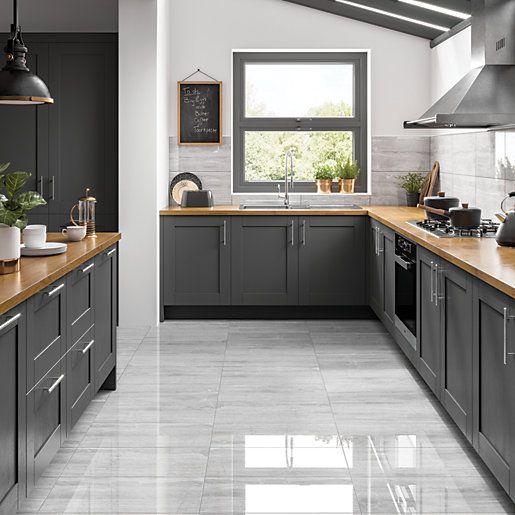 Wickes Olympia Light Grey Polished Stone Porcelain Wall Floor Tile 600 X 300mm Wickes Co Uk Modern Kitchen Flooring Grey Kitchen Floor Kitchen Flooring