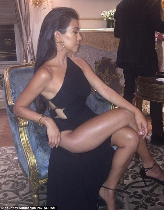 If you've got it...: Kourtney Kardashian showed a lot of skin in this Instagram shared on Friday evening after a night of partying