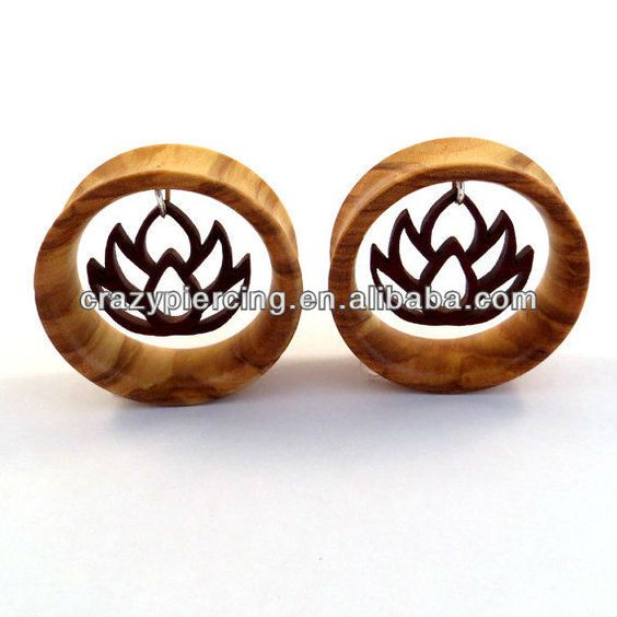2013 New Arrival Organic Dangle Flower Body Jewelry Piercing Wood Ear Tunnel Plug