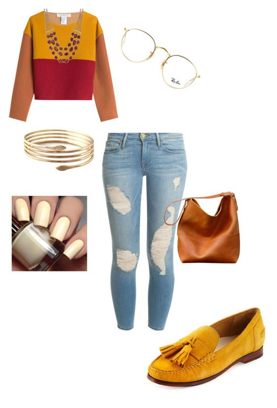"""Gryffindor inspired"" by q-griffin on Polyvore featuring Cole Haan, Frame Denim, Philosophy di Lorenzo Serafini, Ray-Ban and Lucky Brand"