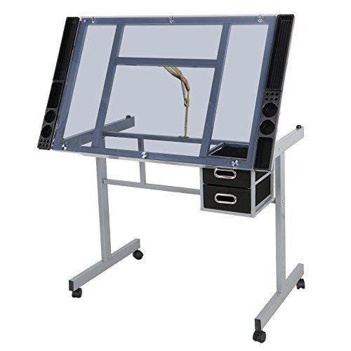 Zeny Glass Top Adjustable Drawing Desk Craft Station Draf Https Www Amazon Com Dp B074rdb74g Ref Cm Sw R Pi Dp U X H Craft Desk Drawing Desk Drawing Table
