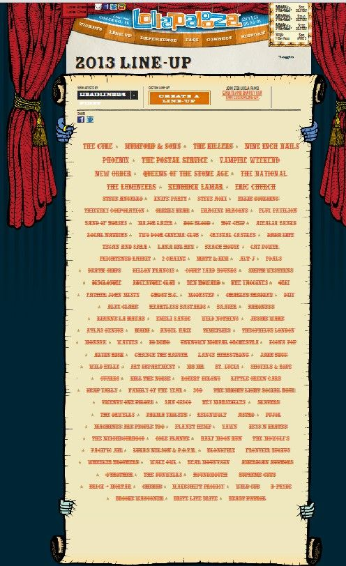 It's here! Lollapalooza 2013 line up