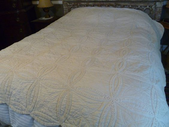 Antique Wedding Rings Quilt White On White Tatted by FairchildsInc, $375.00