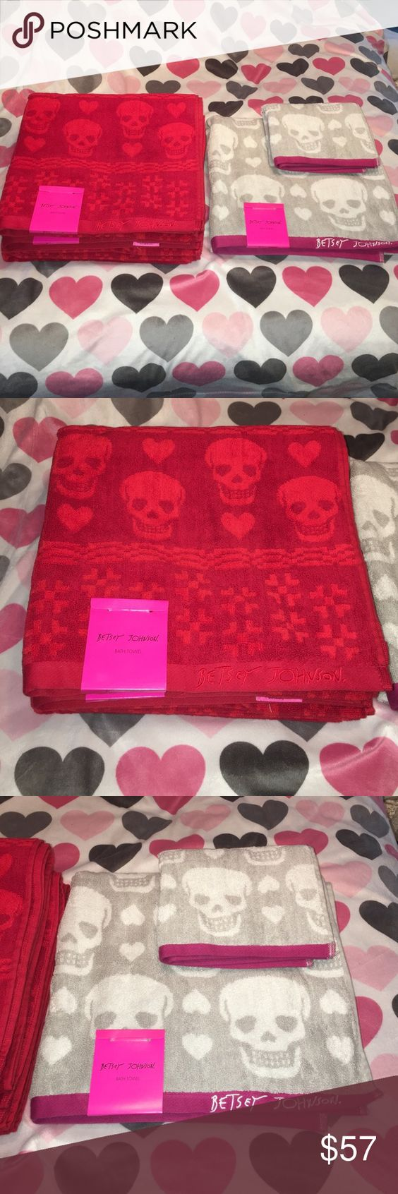 Betsey Johnson towel bundle NWT. This listing is for 3 red skull/heart towels, 1 skull/heart gray hand towel, and 1 skull/heart gray bath towel. I do have 1 hand, and bath towel in the gray but they have been used once if you wanted to add to this listing. Betsey Johnson Other
