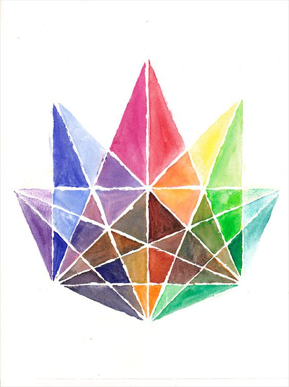 Geometric Crystal  Original Water Color Painting by Katlix on Etsy, €60.00