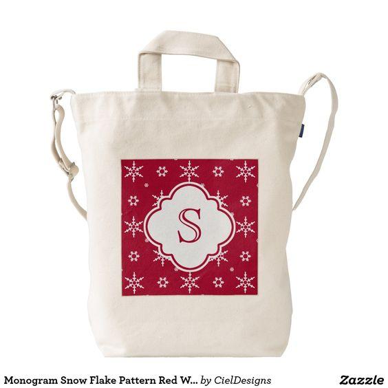 Monogram Snowflakes Pattern Red White Duck Bag