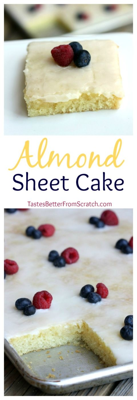 Almond Sheet Cake Dessert Recipe via Tastes Better From Scratch - The Best EASY Sheet Cakes Recipes - Simple and Quick Party Crowds Desserts for Holidays, Special Occasions and Family Celebrations #sheetcakerecipes #sheetcake #sheetcakes #cakerecipes #cakes #dessertforacrowd #partydesserts #christmasdesserts #thanksgivingdesserts #newyearseve #birthdaydesserts