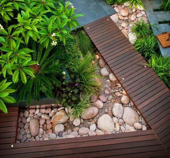 moderne Garten Gestaltung Holzweg anlegen Steingarten Landscape - ideen gestaltung steingarten
