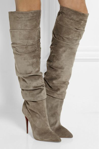 christian louboutin ruched suede peep-toe booties