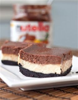 Nutella Cheesecake Bars with Oreo Crust