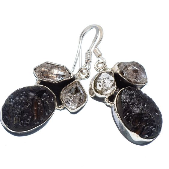 "Tektite, Herkimer Diamond 925 Sterling Silver Earrings 1 1/2"" EARR320521"