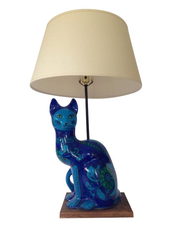 Mid-Century Italian Ceramic Cat Lamp on Chairish.com:
