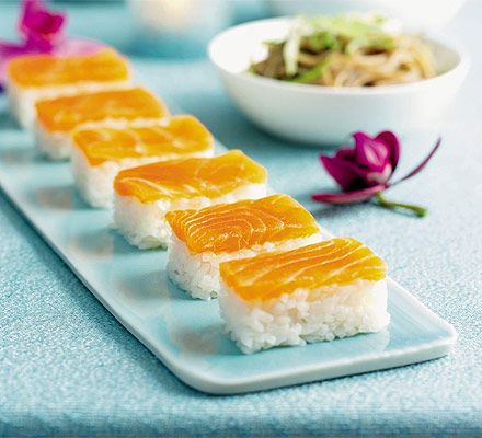 Smoked salmon gives this easy recipe a festive touch and means you don't have to prepare fresh fish - a good sushi recipes for beginners