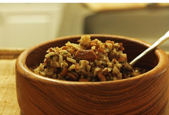 Rosemary Wild Rice with Mushrooms & Cashews (I'd use veggie stock instead) (30 Pounds of Apples)