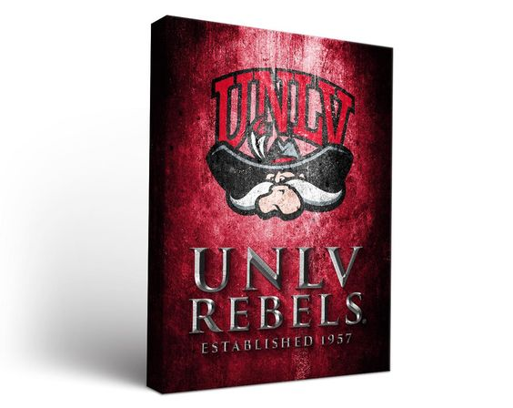 UNLV Rebels Aged Metal Rectangle Canvas Wall Art