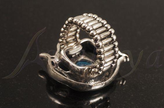 Запись Серебро Голубой Diamante Cat & Mouse Stretch Кольцо - avalaya.com