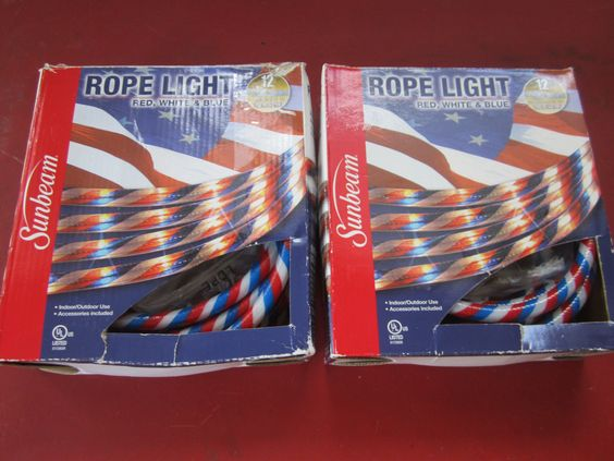 Sunbeam Lot Of 2 Red White Blue Rope Lights 12 Feet 4th Of July Patriotic Lights Red White Blue Red And White Rope Lights