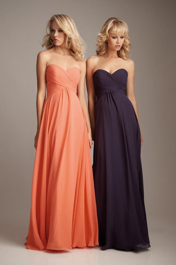 Salmon/Eggplant Sweetheart Neck Chiffon Long Bridesmaid Dress