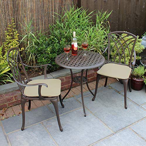 Bentley Garden Bistro Sitzgarnitur 1 Tisch 2 Stuhle Aluminiumguss Gartenmobel Bistro Set Gartenmobel Sets Garten Essgruppe Bistro Stuhle