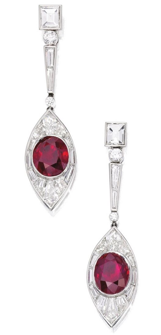 PAIR OF PLATINUM, RUBY AND DIAMOND EARRINGS