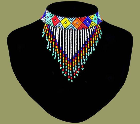 African Beaded Necklace Choker Tassle Zulu