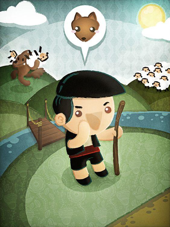 El pastorcillo mentiroso by squidandpig www.squidandpig.com