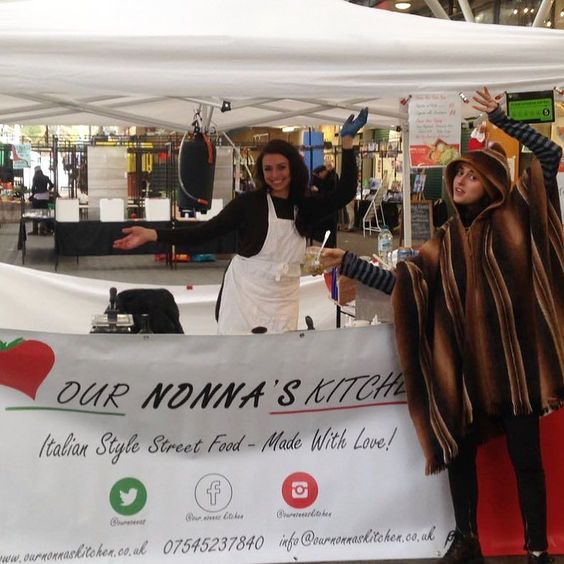 Sister sister! Having fun here @theopenmarket today in Brighton! We have active cooking with a two choices of Nonna's pasta- pesto or carbonara. Going down a storm with four topping to select from today! #ournonnaskitchen #ilovenonna #italianstylestreetfood #madewithlove
