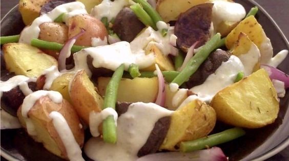 Jeweled Potato & Green Bean Salad with Sunflower Seed Dressing