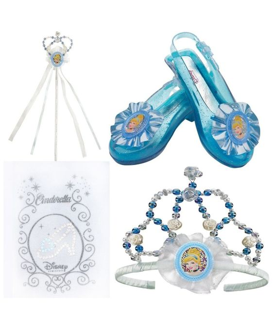She's already got the Cinderella Dress for Halloween and Play Time, but this Accessory Kit are all the extras that will make her feel like a real Disney Princess.