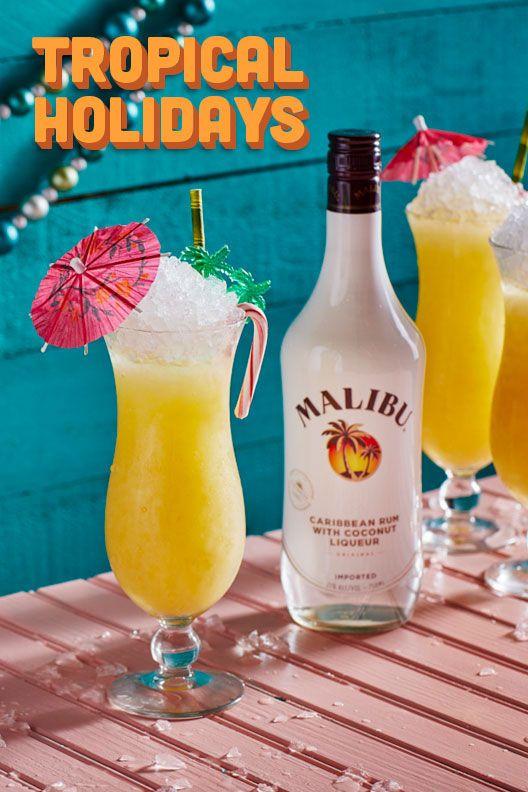Malibu Tropical Holiday 1 5 Parts Malibu 1 Part Pineapple 5 Part Passion Fruit Puree 1 Part Coconut Milk 2 Holiday Recipes Drinks Holiday Drinks Rum Drinks