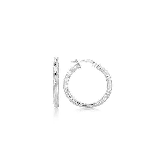 Sterling Silver Hoop Earrings with a Twist Design