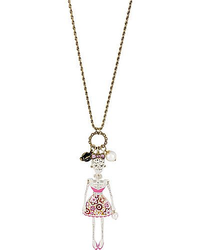 Betsey Johnson - LACE SKULL GIRL PENDANT WHITE