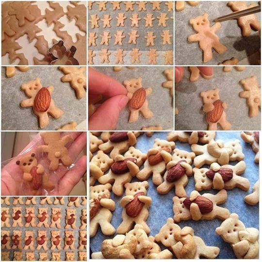 Adorable teddy bear cookies!   From:  Palavras soltas community on Facebook.