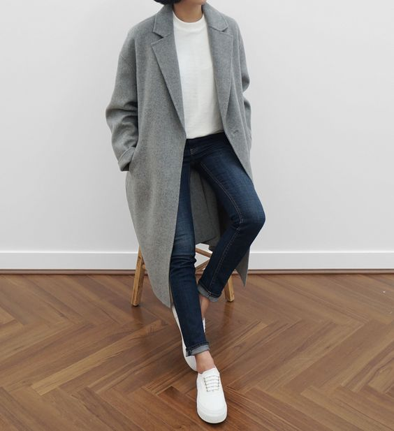 Great Boxy Menswear Look..; Top; Tee; White; Tucked in; Plain; Jeans; Pants; Denim; Blue; Dark; Ombré; Rolled up; Coat; Trench; Gray; Shoes; White; Fall; Winter; P119: