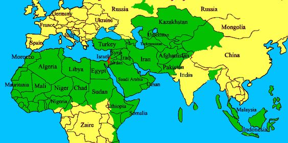 map today of Israel compared to surrounding Muslim nations.