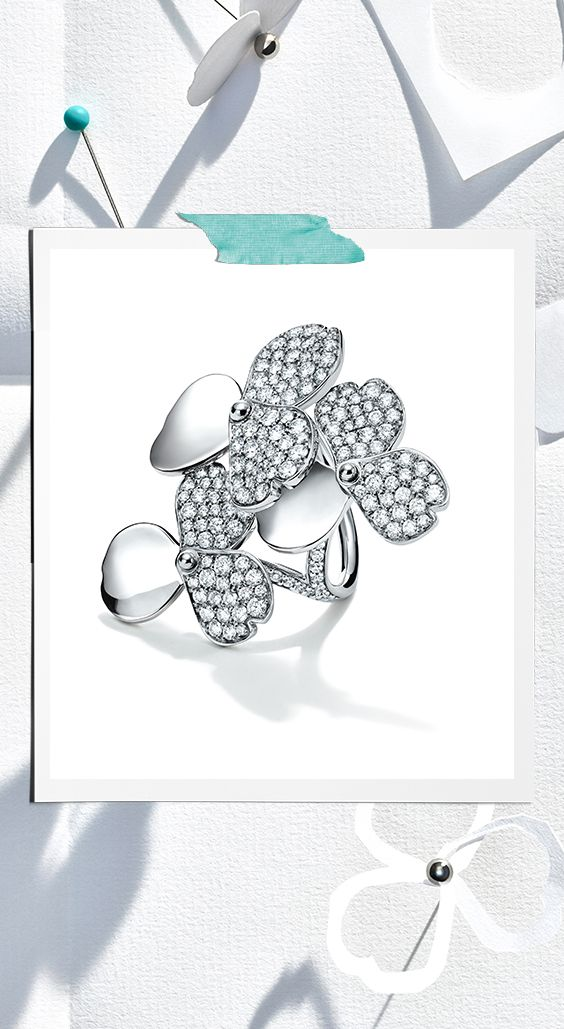 Tiffany Paper Flowers Diamond Cluster Ring In Platinum Tiffany