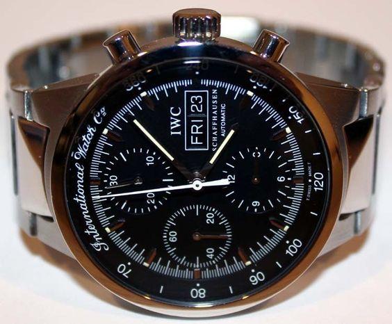 IWC International Watch Co Schaffhausen Chronograph Day Date Automatic SS Watch