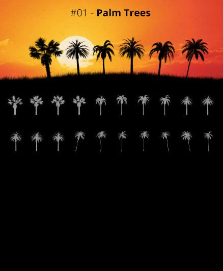 Tree Silhouettes vol.1 - Palm Trees by Horhew   Gimp brushes ...