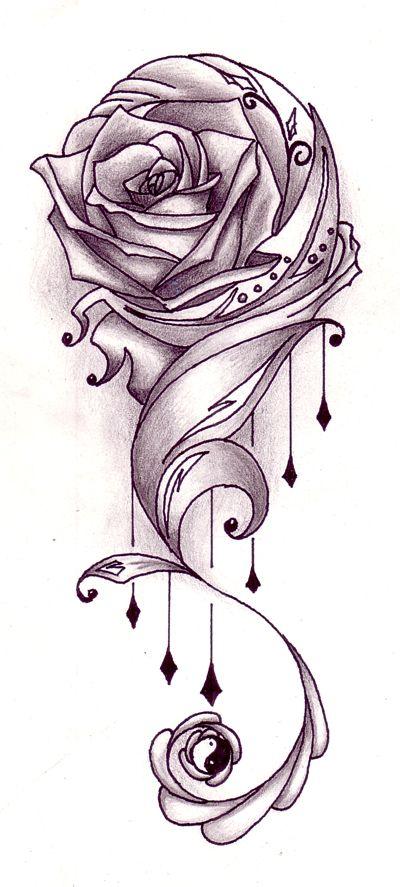 Rose Vine Tattoo Flash Designs | Rose with vines tattoo design