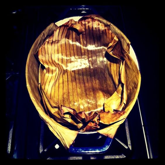Puerco Pibil in banana leaves...slow roasted pork......photo by Regan Leahy