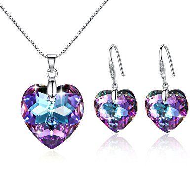 Colgante y pendientes de plata con cristales austriacos en forma de corazón