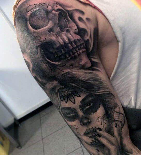 The 110 Best Skull Tattoos For Men Improb Skull Sleeve Tattoos Sugar Skull Tattoos Skull Tattoo Design